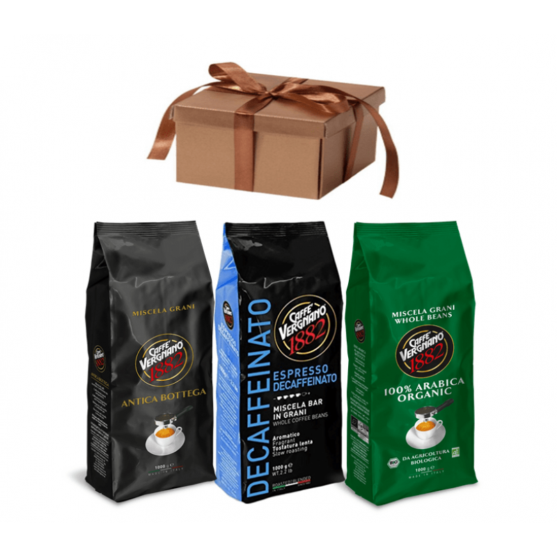 Кофе в зернах со скидкой Vergnano 3-х разных сортов, 3 кг