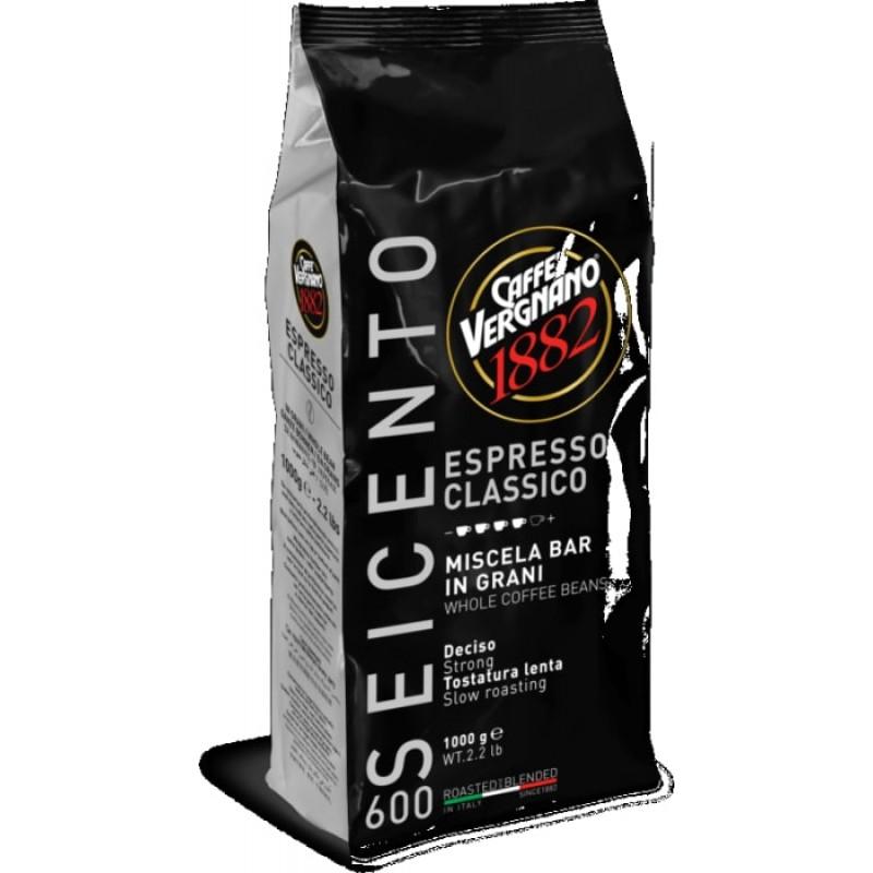 Кофе в зернах Vergnano Espresso Classico 600 1 кг (Арабика 60%, Италия)