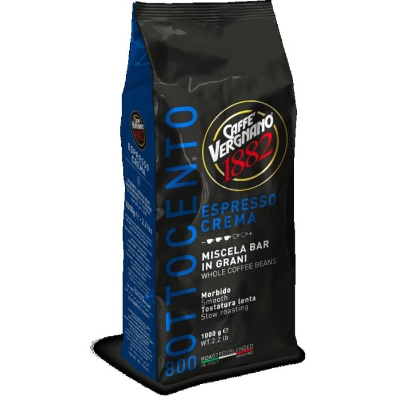 Кофе в зернах Vergnano Espresso Crema 800 1 кг (Арабика 80%, Италия)